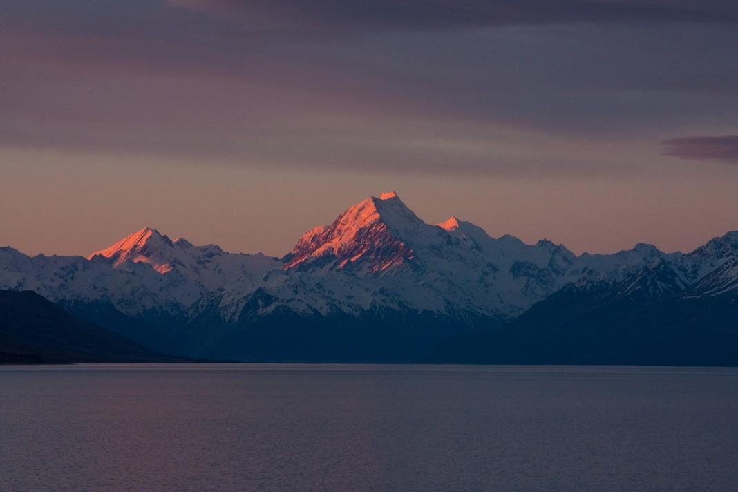Mont Cook et lacs Pukaki et Tekapo